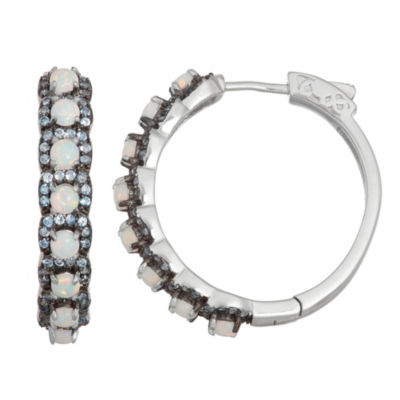 Lab Created White Opal Sterling Silver 28.1mm Round Hoop Earrings