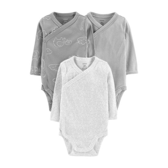 Carter's Little Baby Basics 3pk Long Sleeve Bodysuits - Baby