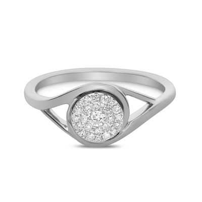 Womens 1/7 CT. T.W. Genuine White Diamond 14K White Gold Engagement Ring
