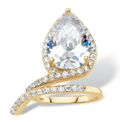 Diamonart Womens White Cubic Zirconia 14K Gold Over Silver Cocktail Ring