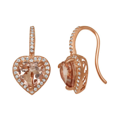 Simulated Pink Morganite 14K Rose Gold Over Silver 21.5mm Heart Hoop Earrings