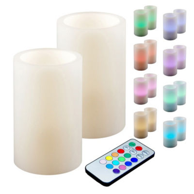 Battery Operated LED Candles with Remote Control- Multi Color (Set of 2)