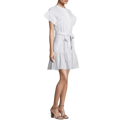 Belle + Sky Ruffle Sleeve Dress with Tie