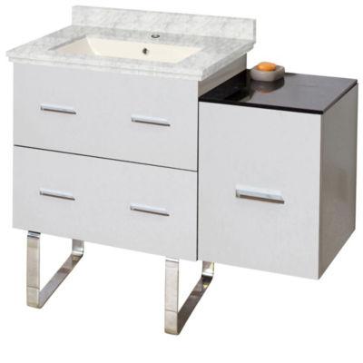 37.75-in. W Floor Mount White Vanity Set For 1 Hole Drilling Bianca Carara Top Biscuit UM Sink