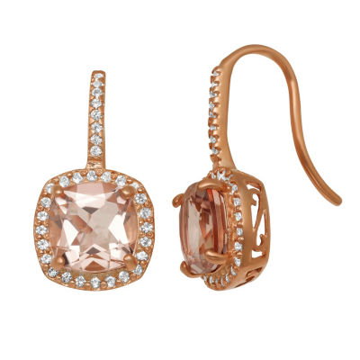 Simulated Pink Morganite 14K Rose Gold Over Silver 21.2mm Square Hoop Earrings
