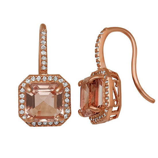 Simulated Pink Morganite 14K Rose Gold Over Silver 20.2mm Square Hoop Earrings