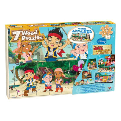 Disney Jake And The Never Land Pirates 7 Wood Jigsaw Puzzles In Wood Storage Box