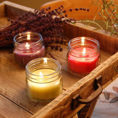 Scented Candles- Natural Fresh Collection in 3oz Glass Mason Jars (Set of 6)