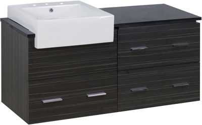 48.75-in. W Wall Mount Dawn Grey Vanity Set For 3H8-in. Drilling Black Galaxy Top