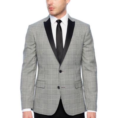 JF J.Ferrar Tartan Black and White Super Slim Fit Sport Coat