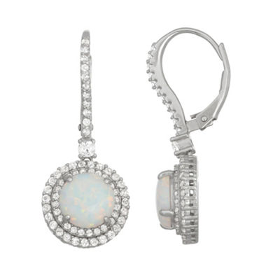 Lab Created White Opal Sterling Silver 27.2mm Round Hoop Earrings
