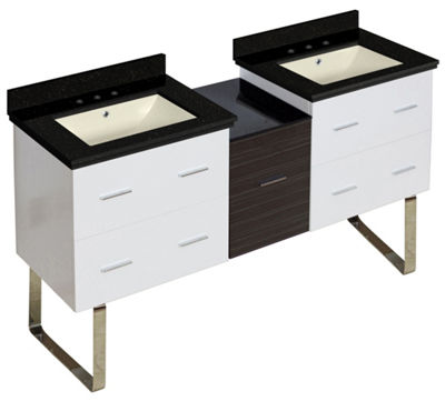 61.5-in. W Floor Mount White-Dawn Grey Vanity SetFor 3H8-in. Drilling Black Galaxy Top Biscuit UM Sink