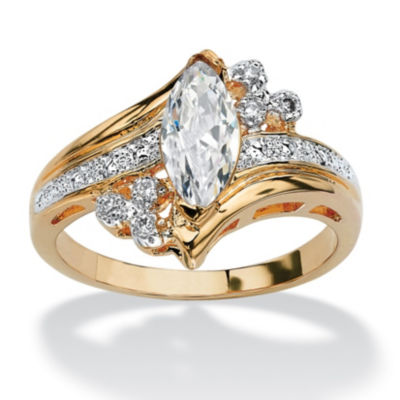Diamonart Womens 1 1/10 CT. T.W.  White Cubic Zirconia 14K Gold Over Brass Engagement Ring