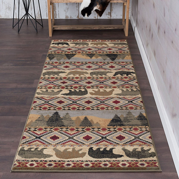 Tayse Homespun Cabin Novelty Lodge Runner Rug