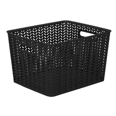 Resin Herringbone Storage Tote-Black-Large 13.75 X 11.50 X 8.75