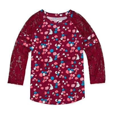 Arizona Lace Sleeve Football Tee - Girls' 4-16 & Plus