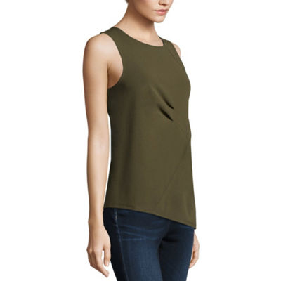 Worthington Womens Crew Neck Sleeveless Knit Blouse