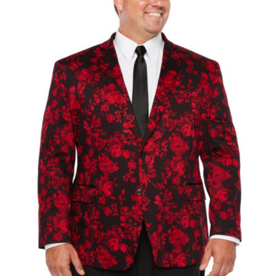 JF J.Ferrar Holiday Red Floral Classic Fit Sport Coat - Big and Tall