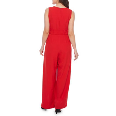 Emma And Michele Sleeveless Belted Jumpsuit