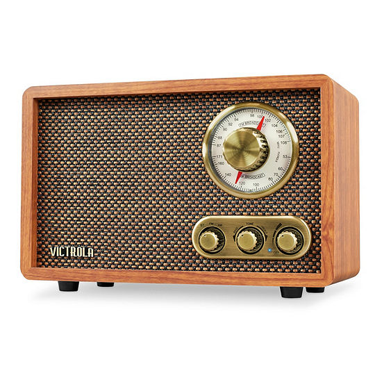 Victrola VRS-2800 Retro Wood Bluetooth AM/FM Radio with Rotary Dial