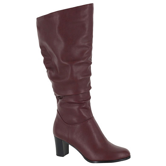 Easy Street Womens Tessla Stacked Heel Zip Slouch Boots