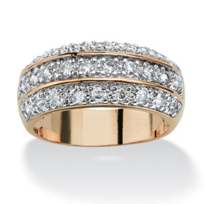 Womens 1 3/4 CT. T.W. White Cubic Zirconia 14K Gold Over Brass Engagement Ring