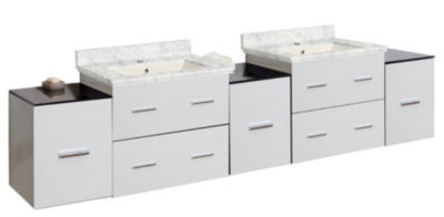 88.5-in. W Wall Mount White Vanity Set For 1 HoleDrilling Bianca Carara Top Biscuit UM Sink