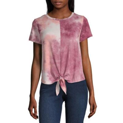 Wallflower Short Sleeve Round Neck Tie Dye T-Shirt-Womens Juniors