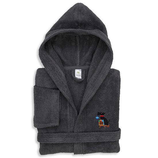 Embroidered Linum Kids 100% Turkish Cotton Hooded Unisex Terry Bathrobe - Christmas Dog
