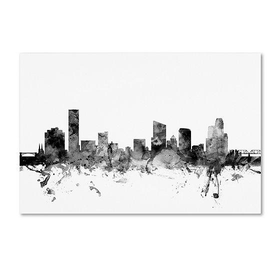 Trademark Fine Art Michael Tompsett Grand Rapids MI Skyline B&W Giclee Canvas Art