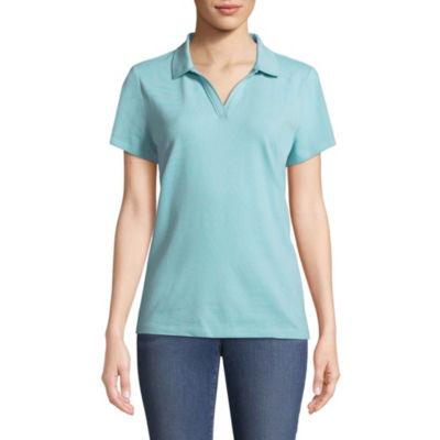 St. John's Bay Short Sleeve Knit Polo Shirt - Petites