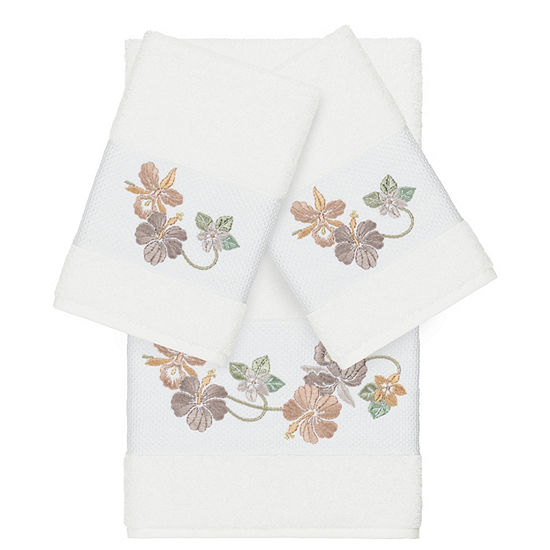 Linum Home Textiles 100 Turkish Cotton Caroline 3pc Embellished Towel Set