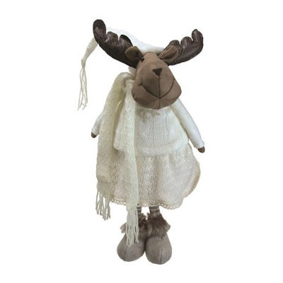 "26"" White and Brown Standing Girl Moose DecorativeChristmas Tabletop Figure"