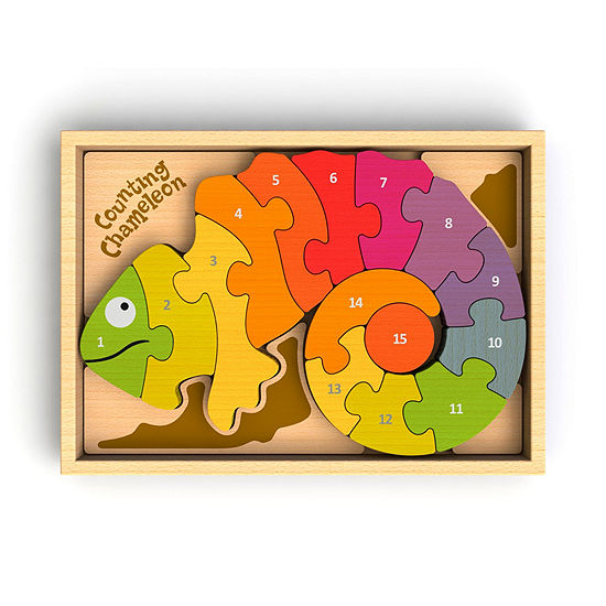 Beginagain Toys Counting Chameleon Wooden Counting Puzzle - Bi-Lingual