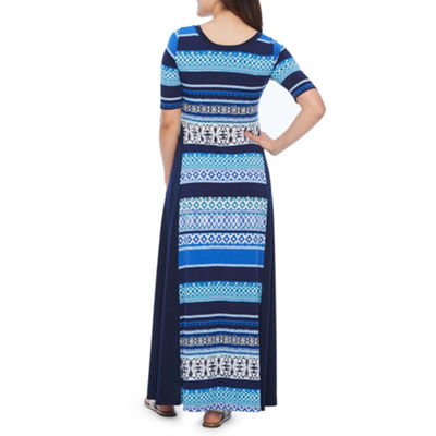 Rabbit Rabbit Rabbit Design Short Sleeve Stripe Maxi Dress