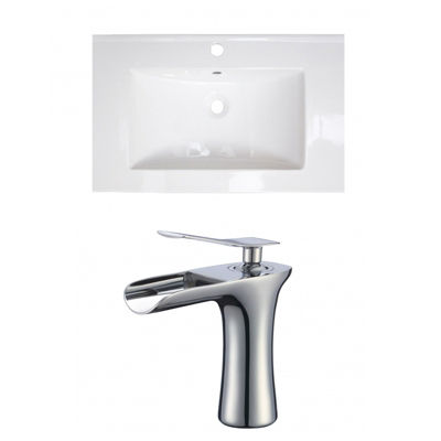 25-in. W 1 Hole Ceramic Top Set In White Color - CUPC Faucet Incl.