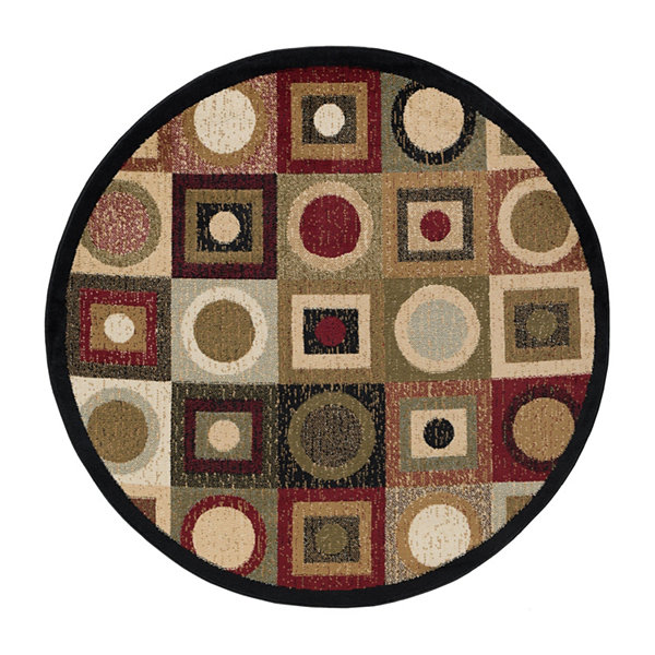 Tayse Ethan Contemporary Geometric Round Area Rug