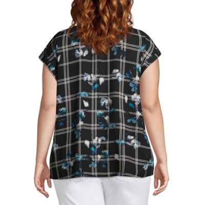 Worthington Short Sleeve Printed V neck Woven Blouse – Plus