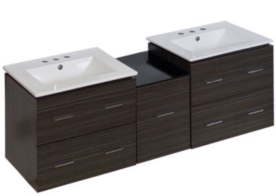 61.5-in. W Wall Mount Dawn Grey Vanity Set For 3H8-in. Drilling