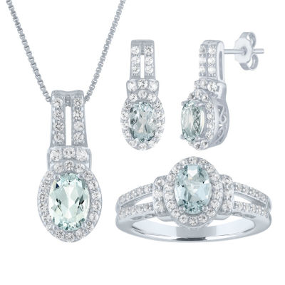 Womens Genuine Blue Aquamarine Sterling Silver 3-pc. Jewelry Set