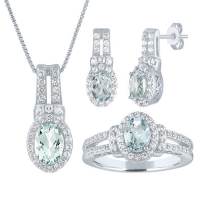Genuine Blue Aquamarine Sterling Silver 3-pc. Jewelry Set