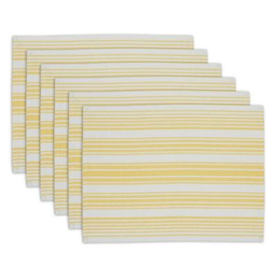 Design Imports Lemon Zest Stripe Placemat Set of 6