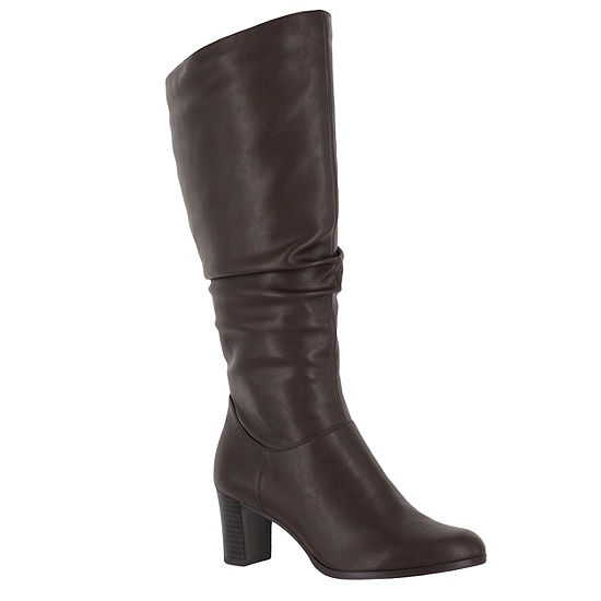 Easy Street Womens Tessla Stacked Heel Zip Slouch Dress Boots
