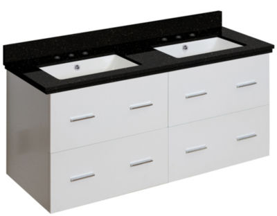 47.5-in. W Wall Mount White Vanity Set For 3H8-in.Drilling Black Galaxy Top White UM Sink