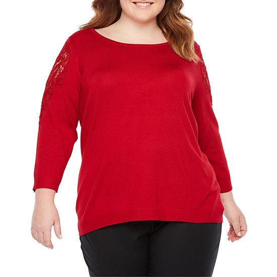 Worthington Long Sleeve Lace Shoulder Sweater Plus