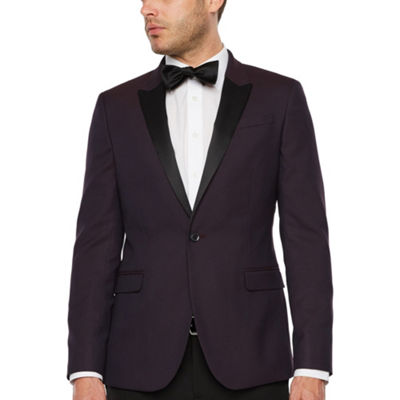JF J.Ferrar Formal Stretch Burgundy Geo Super Slim Fit Sport Coat