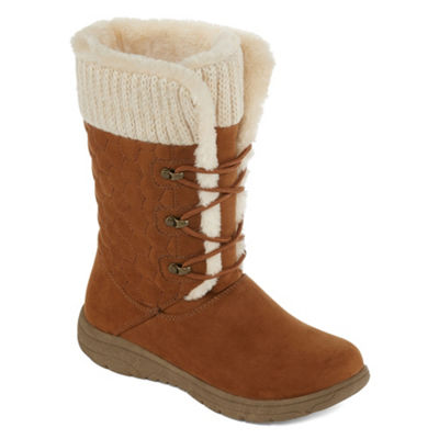 Liz Claiborne Womens Clinton Winter Boots Flat Heel Lace-up