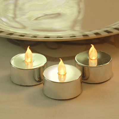 Battery Operated Silver Plated LED Tea Lights (Set of 12)