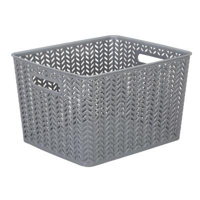 Resin Herringbone Storage Tote-Grey-Large 13.75 X 11.50 X 8.75