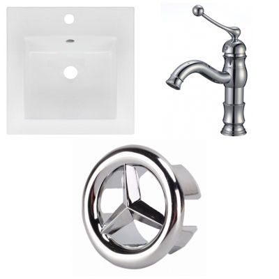 16.5-in. W 1 Hole Ceramic Top Set In White Color -CUPC Faucet Incl.